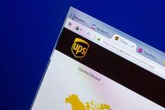 Ryazan, Rusia - 8 de mayo de 2018: Sitio web de UPS en la exhibición de la PC, URL - UPS com fotografía de archivo libre de regalías