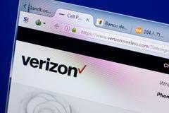 Ryazan, Rusia - 8 de mayo de 2018: Sitio web de VerizonWireless en la exhibición de la PC, URL - VerizonWireless com imagen de archivo libre de regalías