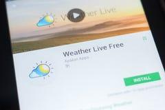 Ryazan, Rusland - April 19, 2018 - doorstaat Live Free mobiele app op de vertoning van tabletpc Royalty-vrije Stock Afbeeldingen
