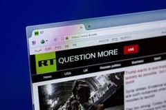 Ryazan, Rusland - April 16, 2018 - Homepage van de website van Rusland vandaag op de vertoning van PC, url - rechts com stock afbeelding