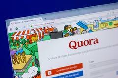 Ryazan, Rusland - April 16, 2018 - Homepage van Quorawebsite op de vertoning van PC, url - quora com stock foto's