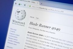 Ryazan, Rusland - Augustus 19, 2018: Wikipedia-pagina over de film van Blade Runner 2049 op de vertoning van PC Royalty-vrije Stock Afbeelding