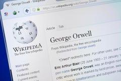 Ryazan, Rusland - Augustus 19, 2018: Wikipedia-pagina over George Orwell op de vertoning van PC stock foto's
