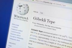 Ryazan, Rusland - Augustus 19, 2018: Wikipedia-pagina over Gobekli Tepe op de vertoning van PC stock fotografie