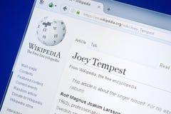 Ryazan, Rusland - Augustus 28, 2018: Wikipedia-pagina over Joey Tempest op de vertoning van PC royalty-vrije stock foto's