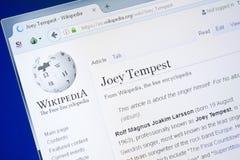 Ryazan, Rusland - Augustus 28, 2018: Wikipedia-pagina over Joey Tempest op de vertoning van PC stock fotografie
