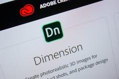 Ryazan, Rusland - Juli 11, 2018: Adobe-Afmeting, softwareembleem op de officiële website van Adobe royalty-vrije stock foto's