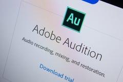Ryazan, Rusland - Juli 11, 2018: Adobe-Auditie, softwareembleem op de officiële website van Adobe royalty-vrije stock foto's