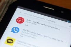 Ryazan, Rusland - Juli 03, 2018: Bemanning - Vrij Overseinen en het Plannen van pictogram in de lijst van mobiele apps stock foto's