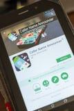 Ryazan, Rusland - Juli 03, 2018: De Omroeper mobiele app van de bezoekersnaam op de vertoning van tabletpc stock fotografie