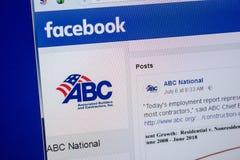 Ryazan, Rusland - Juli 11, 2018: Facebook van de Nationale website van ABC op de vertoning van PC stock fotografie