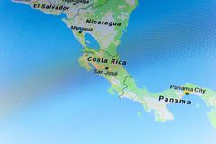 Ryazan, Rusland - Juli 08, 2018: Het land van Costa Rica op google brengt de dienst in kaart Stock Foto