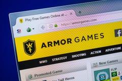 Ryazan, Rusland - Juli 25, 2018: Homepage van ArmorGames-website op de vertoning van PC Url - ArmorGames com royalty-vrije stock afbeelding