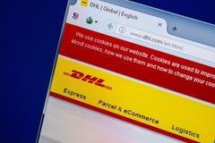 Ryazan, Rusland - Juli 25, 2018: Homepage van DHL website op de vertoning van PC URL - DHL com royalty-vrije stock afbeelding