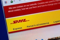 Ryazan, Rusland - Juli 25, 2018: Homepage van DHL website op de vertoning van PC URL - DHL com royalty-vrije stock foto