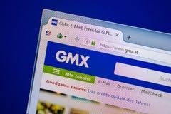 Ryazan, Rusland - Juli 25, 2018: Homepage van GMX-website op de vertoning van PC Url - GMX Bij stock foto's