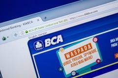 Ryazan, Rusland - Juli 25, 2018: Homepage van KlikBCA-website op de vertoning van PC Url - KlikBCA com stock fotografie