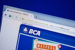 Ryazan, Rusland - Juli 25, 2018: Homepage van KlikBCA-website op de vertoning van PC Url - KlikBCA com stock afbeelding