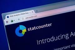 Ryazan, Rusland - Juli 25, 2018: Homepage van StatCounter-website op de vertoning van PC Url - StatCounter com royalty-vrije stock afbeelding