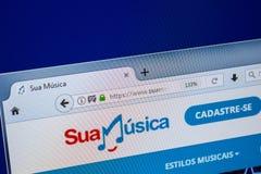 Ryazan, Rusland - Juli 25, 2018: Homepage van SuaMusica-website op de vertoning van PC Url - SuaMusica com BR stock afbeeldingen