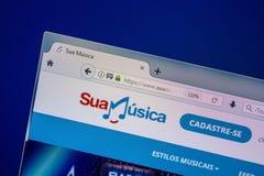 Ryazan, Rusland - Juli 25, 2018: Homepage van SuaMusica-website op de vertoning van PC Url - SuaMusica com BR royalty-vrije stock afbeelding