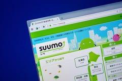 Ryazan, Rusland - Juli 25, 2018: Homepage van Suumo-website op de vertoning van PC Url - Suumo JP royalty-vrije stock foto's
