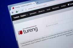 Ryazan, Rusland - Juli 25, 2018: Homepage van Tureng-website op de vertoning van PC Url - Tureng com royalty-vrije stock foto's