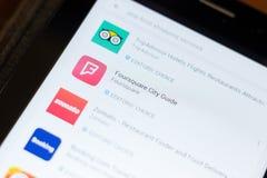 Ryazan, Rusland - Juni 24, 2018: Foursquare pictogram van de Stadsgids op de lijst van mobiele apps stock fotografie