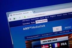 Ryazan, Rusland - Juni 26, 2018: Homepage van Ardmediathek-website op de vertoning van PC URL - Ardmediathek DE royalty-vrije stock fotografie