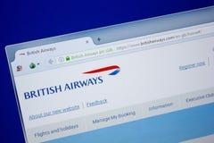 Ryazan, Rusland - Juni 26, 2018: Homepage van BritishAirways website op de vertoning van PC URL - BritishAirways com stock fotografie