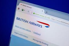 Ryazan, Rusland - Juni 26, 2018: Homepage van BritishAirways website op de vertoning van PC URL - BritishAirways com stock afbeeldingen