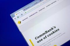 Ryazan, Rusland - Juni 05, 2018: Homepage van Commbank-website op de vertoning van PC, url - Commbank com Au royalty-vrije stock foto's