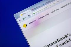 Ryazan, Rusland - Juni 05, 2018: Homepage van Commbank-website op de vertoning van PC, url - Commbank com Au stock afbeeldingen
