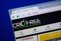Ryazan, Rusland - Juni 26, 2018: Homepage van CricFree-website op de vertoning van PC URL - CricFree Sc royalty-vrije stock afbeelding