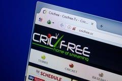 Ryazan, Rusland - Juni 26, 2018: Homepage van CricFree-website op de vertoning van PC URL - CricFree Sc stock foto's
