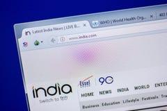 Ryazan, Rusland - Juni 05, 2018: Homepage van de website van India op de vertoning van PC, url - India com stock foto's