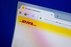 Ryazan, Rusland - Juni 26, 2018: Homepage van DHL website op de vertoning van PC URL - DHL DE stock foto's