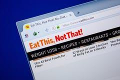 Ryazan, Rusland - Juni 26, 2018: Homepage van EatThis-website op de vertoning van PC URL - EatThis com royalty-vrije stock afbeeldingen