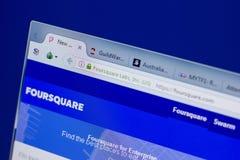 Ryazan, Rusland - Juni 17, 2018: Homepage van FourSquare website op de vertoning van PC, url - FourSquare com stock afbeelding