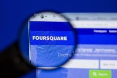 Ryazan, Rusland - Juni 17, 2018: Homepage van FourSquare website op de vertoning van PC, url - FourSquare com royalty-vrije stock afbeelding