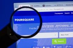 Ryazan, Rusland - Juni 17, 2018: Homepage van FourSquare website op de vertoning van PC, url - FourSquare com stock foto's