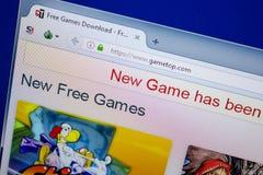 Ryazan, Rusland - Juni 26, 2018: Homepage van GameTop-website op de vertoning van PC URL - GameTop com royalty-vrije stock afbeelding