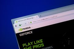 Ryazan, Rusland - Juni 26, 2018: Homepage van GeForce-website op de vertoning van PC URL - GeForce com stock fotografie