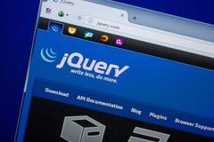 Ryazan, Rusland - Juni 26, 2018: Homepage van jQuerywebsite op de vertoning van PC URL - jQuery com royalty-vrije stock afbeeldingen
