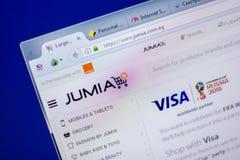 Ryazan, Rusland - Juni 05, 2018: Homepage van Jumia-website op de vertoning van PC, url - Jumia com b.v. royalty-vrije stock afbeelding