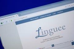 Ryazan, Rusland - Juni 26, 2018: Homepage van Linguee-website op de vertoning van PC URL - Linguee com stock afbeeldingen