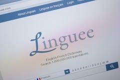 Ryazan, Rusland - Juni 26, 2018: Homepage van Linguee-website op de vertoning van PC URL - Linguee com royalty-vrije stock afbeelding