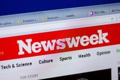 Ryazan, Rusland - Juni 05, 2018: Homepage van Newsweek-website op de vertoning van PC, url - Newsweek com stock foto's