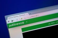 Ryazan, Rusland - Juni 26, 2018: Homepage van PubliNews-website op de vertoning van PC URL - PubliNews GT stock foto's