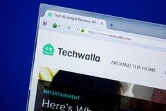 Ryazan, Rusland - Juni 26, 2018: Homepage van Techwalla-website op de vertoning van PC URL - Techwalla com stock fotografie